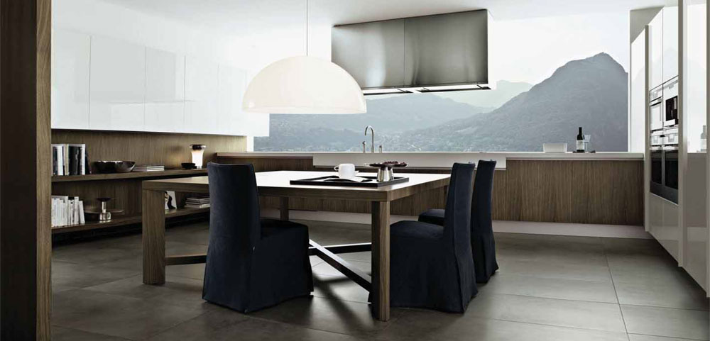 návrh interieru kuchynska linka kuchynský stol