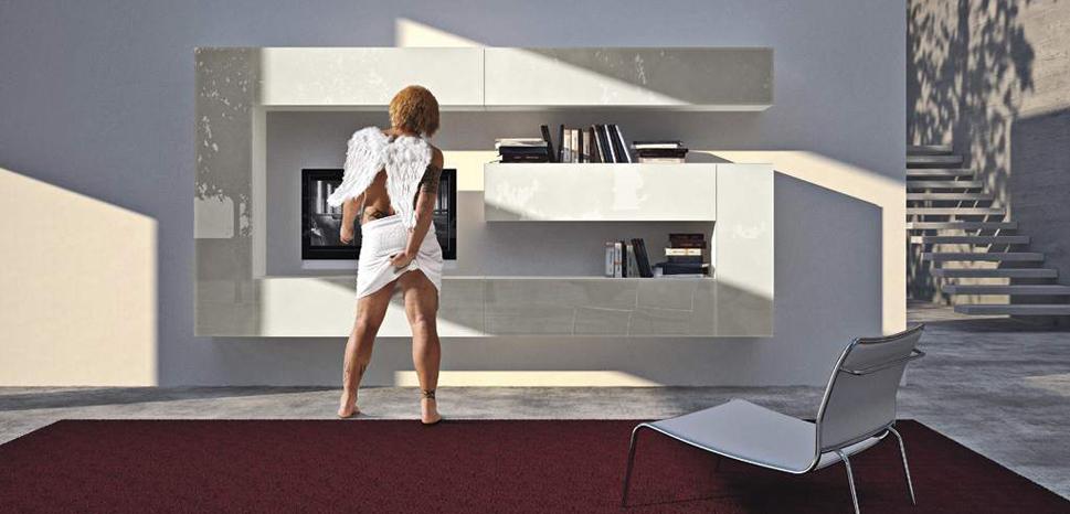 projekt interieru moderná obývačková tv stena na mieru