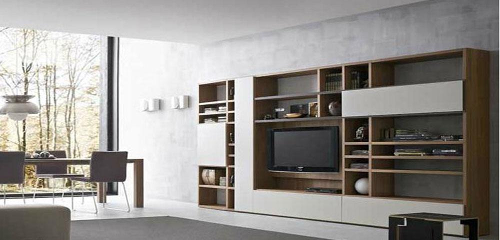 návrh interieru obývačková tv zostava moderná drevená