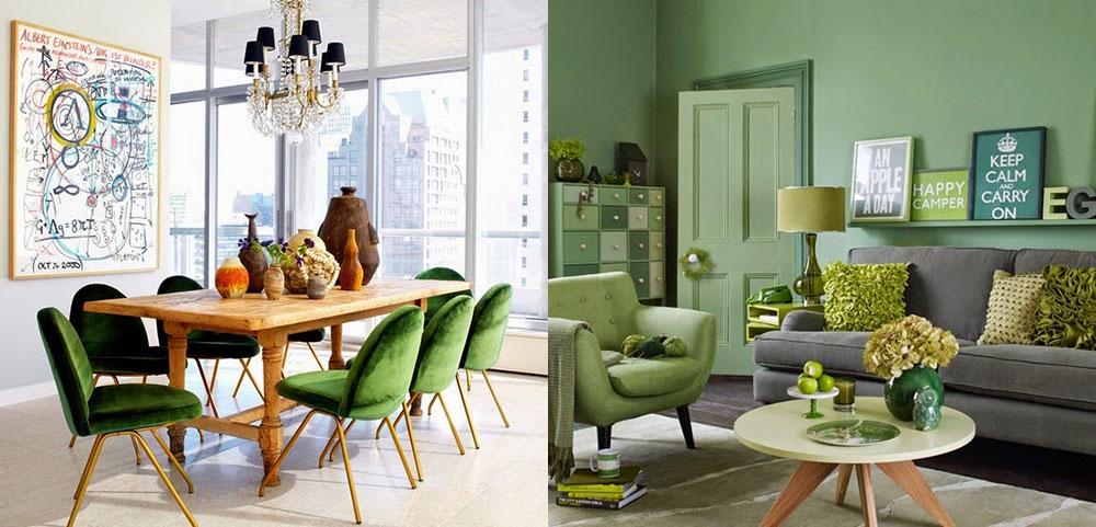 návrh interieru farba zelena